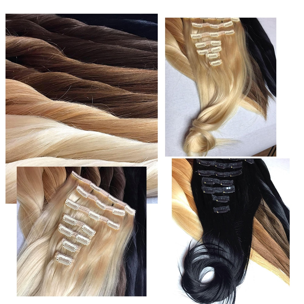 Pre-Colored Straight Clip-In Remy Human Hair Extensions Set