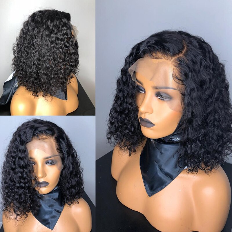Ombre Color Short Curly Hair Wig with Baby Hair