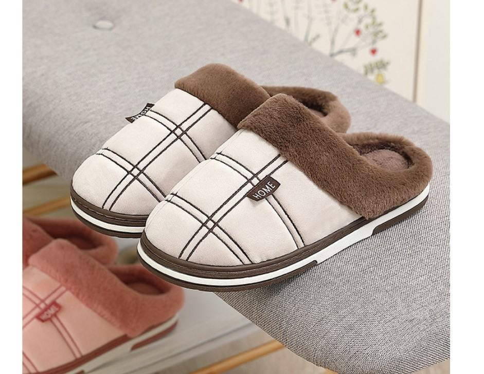 Men's Plaid Plush Slippers