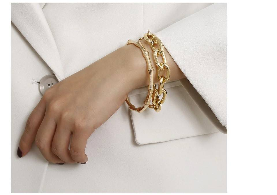 Women's Oversized Chain Bracelet 2 Pcs Set