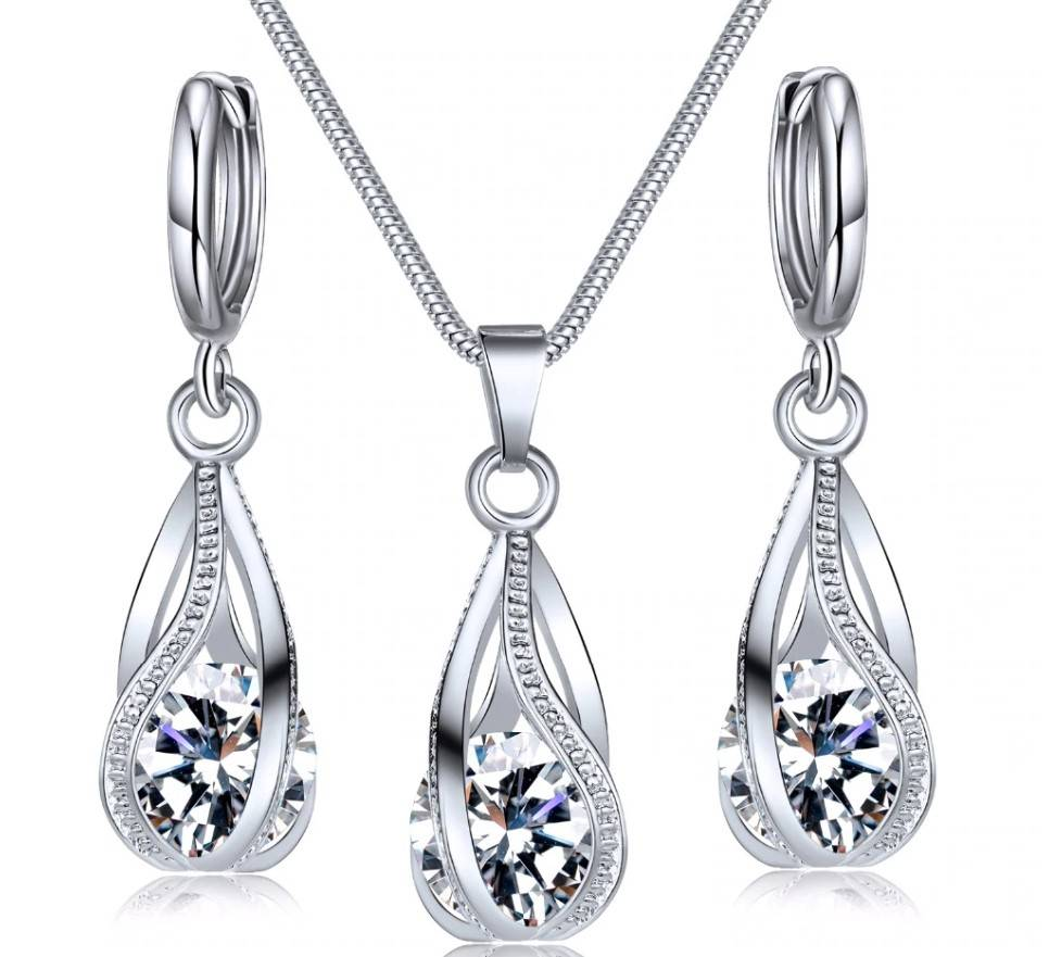Women's Silver Drop Necklace and Earrings Set