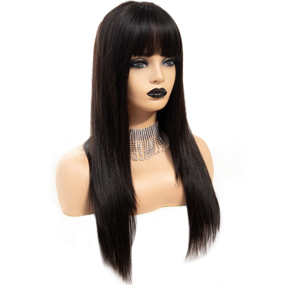 Black Long Straight Bangs Virgin Human Hair Wig
