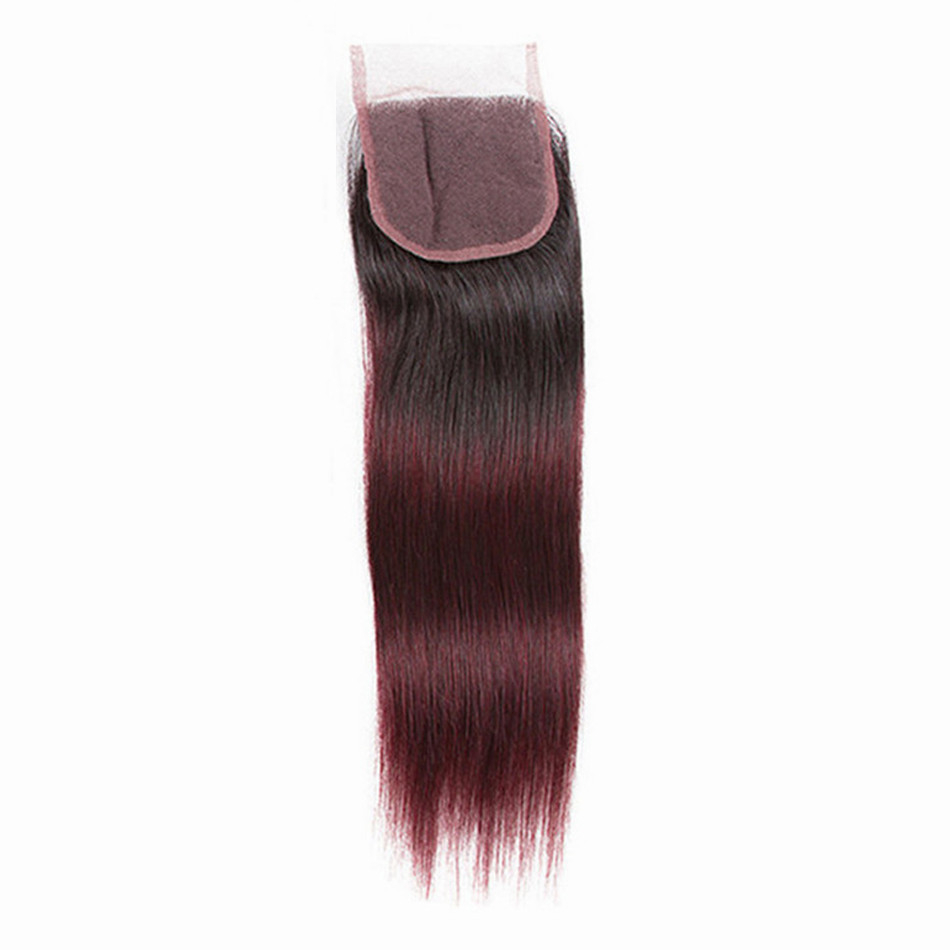 Straight Ombre Burgundy Lace Closure for Women