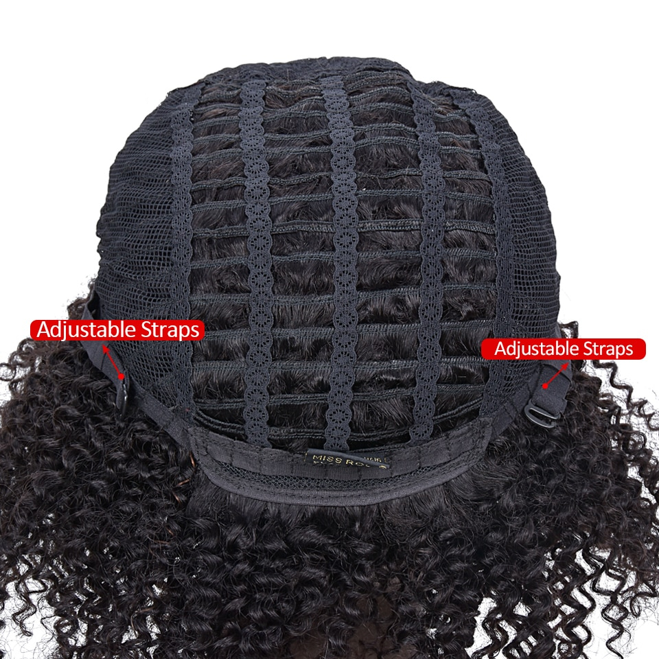 Short Kinky Curly Non-Lace Remy Human Hair Wig