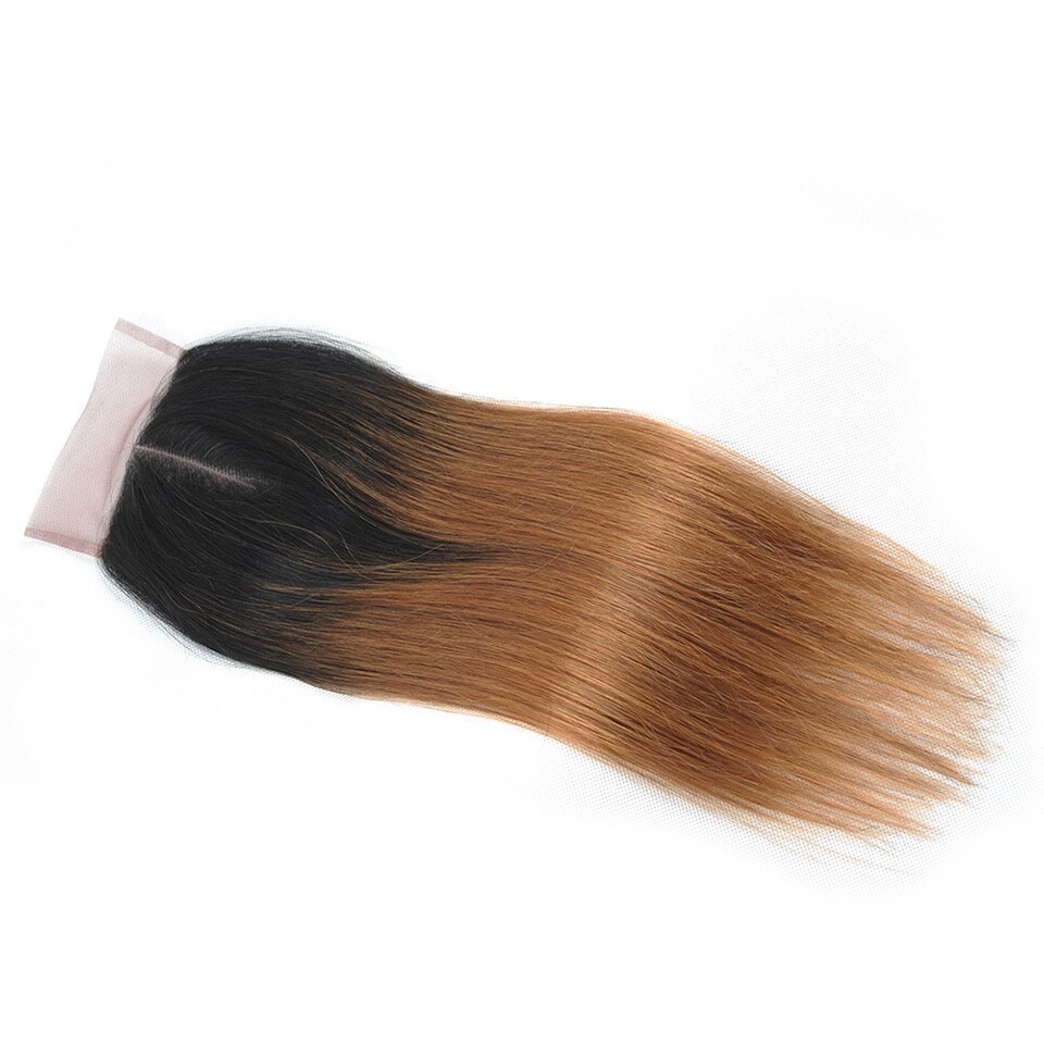 Ombre Straight Lace Brazilian Human Hair Closure