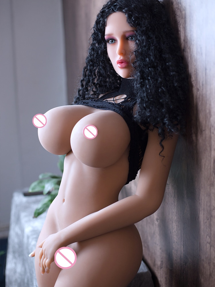 Silicone Curly Hair Brunette Sex Doll with Big Bust